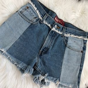 Levi's 550 High Waist Frayed Paneled Denim Shorts